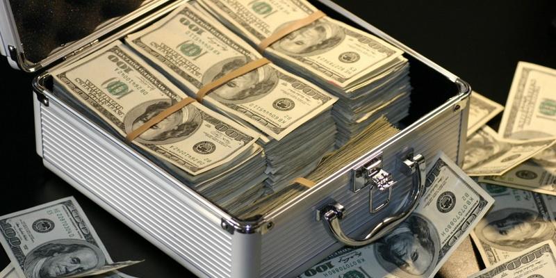 Daugybė dolerių lagamine